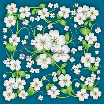 abstract floral background with spring ornament