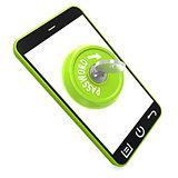 Green password key on smartphone