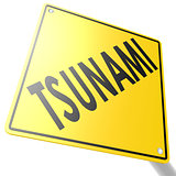 Road sign with tsunami