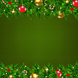 Dark Green Retro Card With Fir Tree