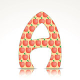 The letter A of the alphabet made of Apple