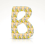 The letter B of the alphabet made of Bananas