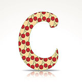 The letter C of the alphabet made of cherry