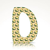 The letter D of the alphabet made of Durian