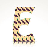The letter E of the alphabet made of Eggplant