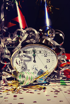 Alarm clock and decorations on table