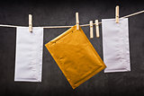 Three Envelope on clothes rope