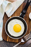 Fried egg in a small pan