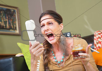 Angry Smoker Yelling at Phone