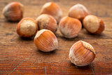 hazelnuts on wood table