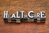 healthcare word in metal type
