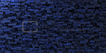 3d irregular grungy mosaic wall in deep blue