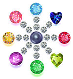 Round composition colored gems set