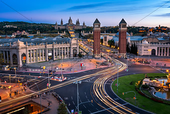 Aerial View on Placa Espanya and Montjuic Hill with National Art