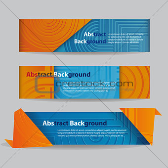 Abstract Banners with Ribbon