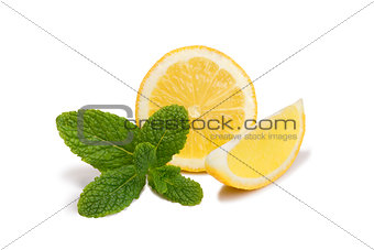 Sliced lemons with mint isolated