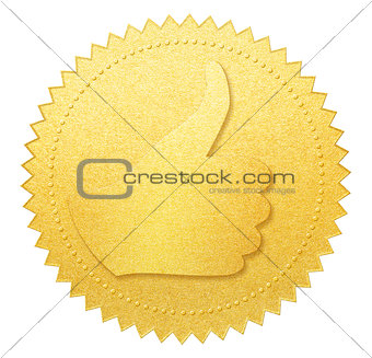 thumb up gold paper seal or medal isolated