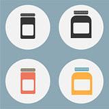 Set of flat medicine bottles, vintage colors, vector illustration. Mockup icons.