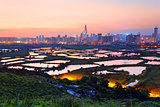 hong kong countryside sunset