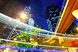 night traffic in the hong kong city