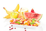 Fruit salad and fresh fruits.