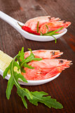 Delicious shrimps close up.