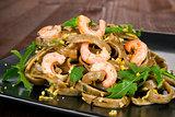 Delicious shrimp pasta.