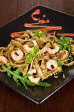 Luxurious seafood pasta.