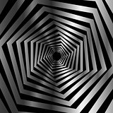 Abstract striped warped hexagonal optical illusion