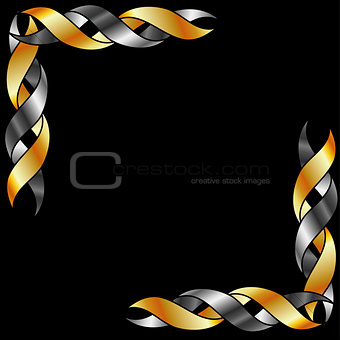 Gold and silver frame over black