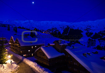 Ski resort in moonlight.