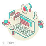 Isometric design modern concept of blogging