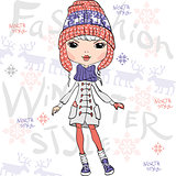 Vector beautiful fashion girl in winter