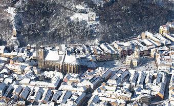 Brasov old city aerial view