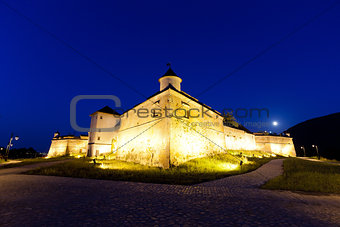 "Old fortress ""Cetatuia"" illuminated at night, Brasov"