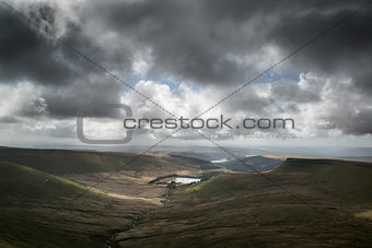 Beautiful landscape of Brecon Beacons National Park with moody s