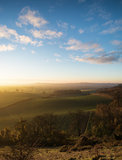 Stunning Autumn sunrise over countryside landscape