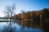 Beautiful landscape of Autumn trees and colors reflected in lake