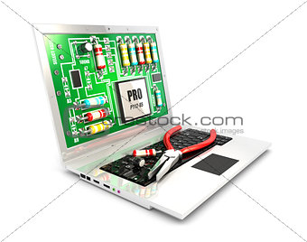 3d circuit board on laptop screen