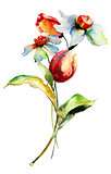 Watercolor painting with flowers