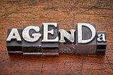 agenda word in metal type