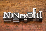 nonprofit word in metal type