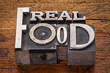 real food text in metal type