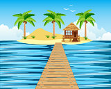 Wooden bridge to tropical island