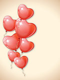 Heart shaped red balloons.
