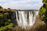 The Victoria falls with mist from water