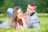Happy smiling young couple outdoor. valentine concept