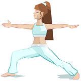 Girl yoga. Virabhadrasana