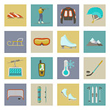 Winter sports flat icons set