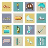 Winter sports flat icons set